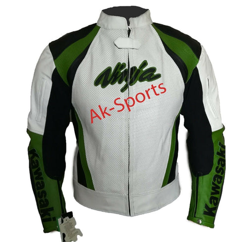 leather404 Clothing, Shoes & Accessories:Men's Clothing:Coats & Jackets S Men's Motorcycle Biker Leather Jacket, Padded Jacket, White Green Jackets