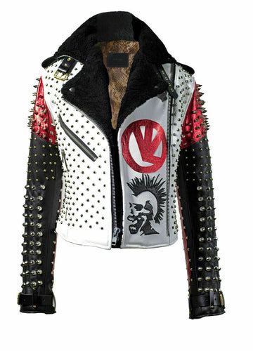 leather404 Clothing, Shoes & Accessories:Men's Clothing:Coats & Jackets S Men's Victor Luna White Black Studded Rock Punk Genuine Leather Jacket