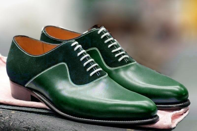 leather404 Clothing, Shoes & Accessories:Men's Shoes:Dress Shoes 8 Handmade Green Leather And Suede Shoes, Oxford Designer Shoes, Dress Formal Shoe