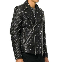 leather404 Clothing, Shoes & Accessories:Men's Clothing:Coats & Jackets Handmade Studded Quilted Biker jacket Men, Designer Fashion Leather Jacket