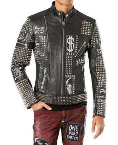 leather404 Clothing, Shoes & Accessories:Men's Clothing:Coats & Jackets S Handmade Studded Punk Style Biker jacket Men, Patches Black Leather Jacket Men