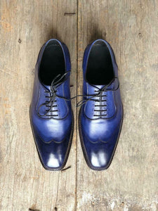 leather404 Clothing, Shoes & Accessories:Men's Shoes:Dress Shoes Navy Blue Leather Shoes Men's Fashion Shoes Dress Lace up Leather Shoes