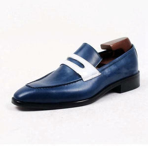 leather404 Clothing, Shoes & Accessories:Men's Shoes:Dress Shoes Navy Blue Moccasin Leather Shoes, Men Formal Shoes, Men Two Tone Shoes
