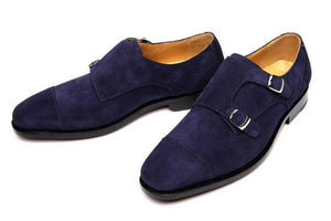 leather404 Clothing, Shoes & Accessories:Men's Shoes:Dress Shoes Handmade Double Monk Suede Leather Shoes, Men's Navy Suede Shoes Dress Shoes