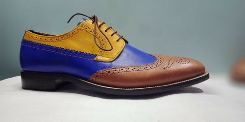 leather404 Clothing, Shoes & Accessories:Men's Shoes:Dress Shoes 8 Men's Oxford Wing Tip, Handmade Multi color Shoes, Dress Formal Blue Brogue Shoe