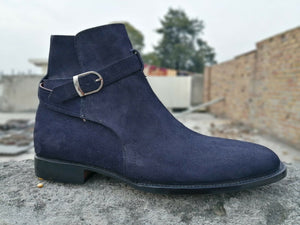 leather404 Clothing, Shoes & Accessories:Men's Shoes:Boots 8 Handmade Men Jodhpurs Boot, Navy Blue Formal Suede Boots
