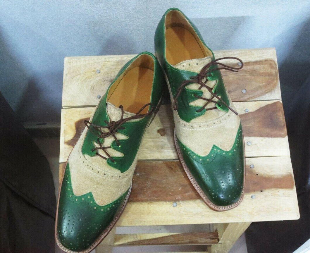leather404 Clothing, Shoes & Accessories:Men's Shoes:Dress Shoes 8 Handmade Men's Beige Green Shoes, Oxford Dress Lace Up Leather Shoes