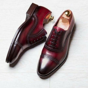 leather404 Clothing, Shoes & Accessories:Men's Shoes:Dress Shoes 8 Men's Oxford Two Tone shoes, Burgundy Dress Office Cap Toe Shoes, Handmade Shoe