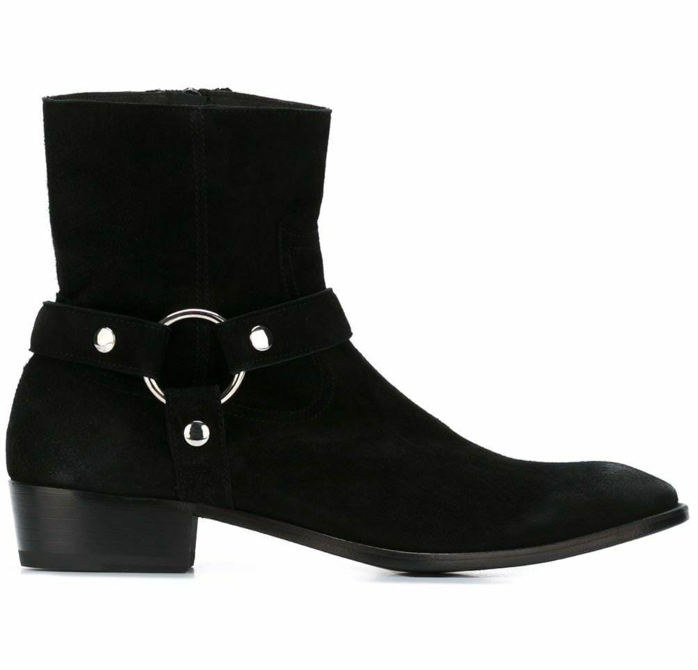 leather404 Clothing, Shoes & Accessories:Men's Shoes:Boots 8 Handmade Stylish Men's Black Boot, Suede Leather Ankle Boot