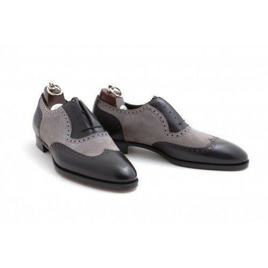 leather404 Clothing, Shoes & Accessories:Men's Shoes:Dress Shoes 8 Handmade Men Oxford Dress Two Tone Formal Gray Shoes