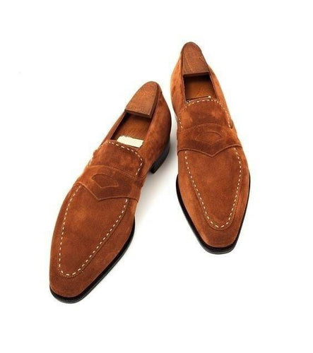 leather404 Clothing, Shoes & Accessories:Men's Shoes:Dress Shoes 8 Handmade Men Tan color suede Leather moccasins Shoes