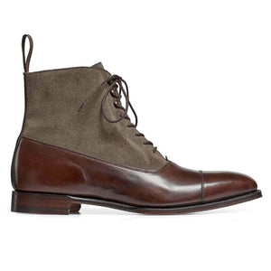 leather404 Clothing, Shoes & Accessories:Men's Shoes:Boots Handmade Men Lace Up Gray Brown Ankle Boot Designer Leather Suede Men Boots