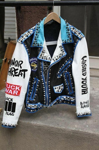 leather404 Clothing, Shoes & Accessories:Men's Clothing:Coats & Jackets Men,s silver studded genuine leather jacket Rock punk blue white jacket