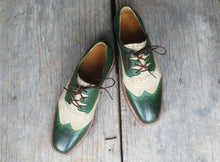 leather404 Clothing, Shoes & Accessories:Men's Shoes:Dress Shoes Handmade Men's Beige Green Shoes, Oxford Dress Lace Up Leather Shoes