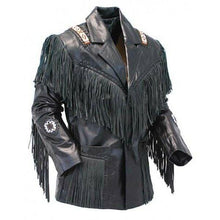 leather404 Clothing, Shoes & Accessories:Men's Clothing:Coats & Jackets S Western Cowboy Leather Jacket, Fringe Black leather jacket, Shirt Collar Jacket