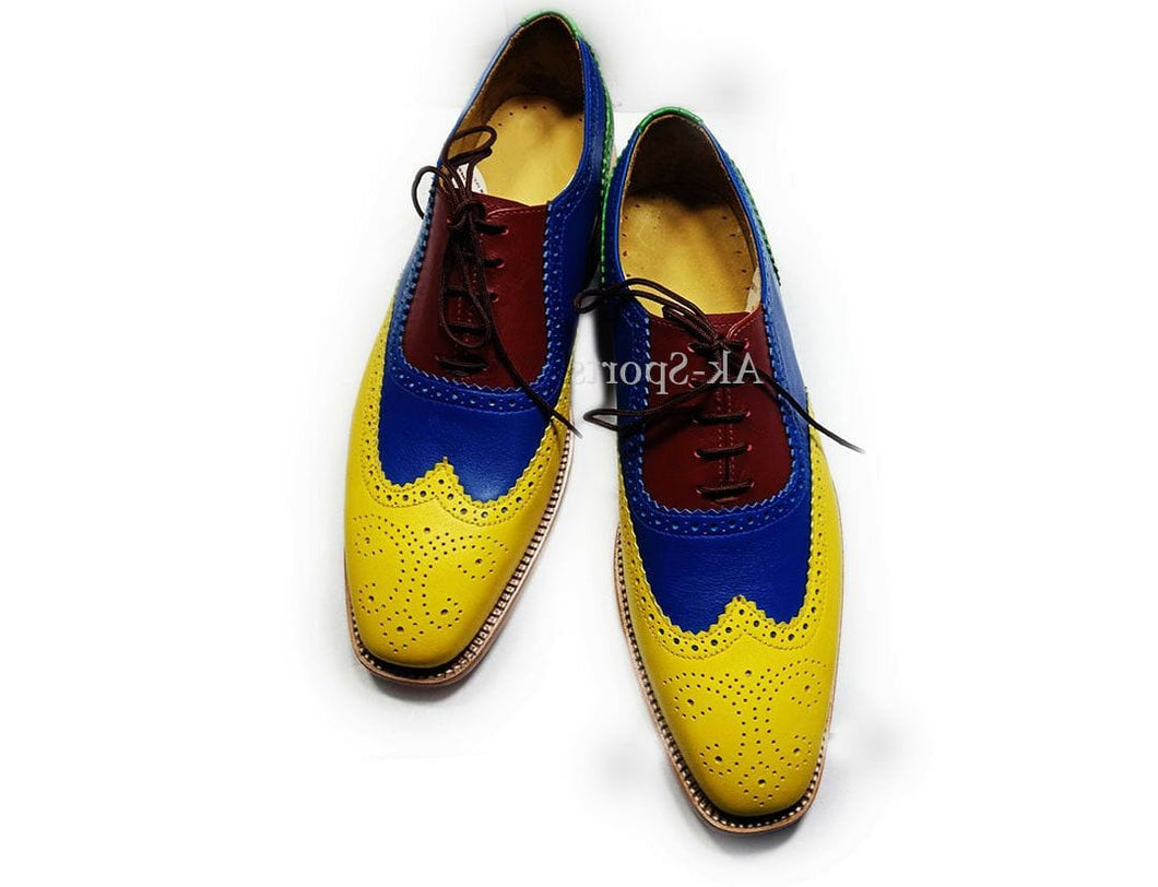 leather404 Clothing, Shoes & Accessories:Men's Shoes:Dress Shoes 8 Men's Handmade Multi color Leather Shoes, Dress Formal wing tip Brogue Shoes