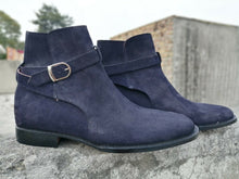 leather404 Clothing, Shoes & Accessories:Men's Shoes:Boots Handmade Men Jodhpurs Boot, Navy Blue Formal Suede Boots
