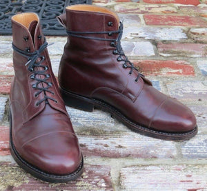 leather404 Clothing, Shoes & Accessories:Men's Shoes:Boots Handmade Burgundy Lace Up Boot, Men Ankle Boots, Men Cap Toe Boots