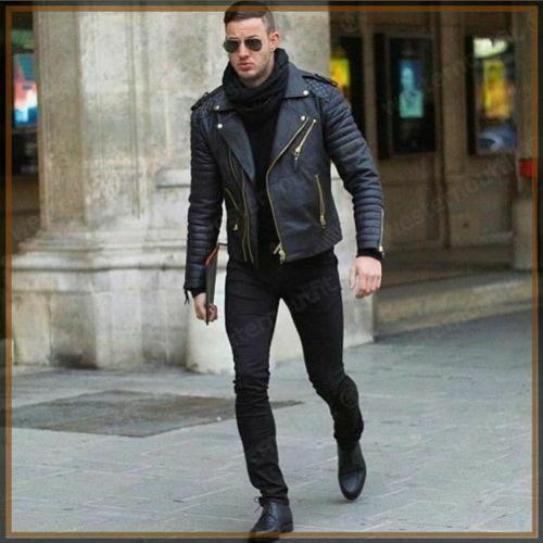 leather404 Clothing, Shoes & Accessories:Men's Clothing:Coats & Jackets S Mens biker leather jacket, Mens fashion black motorcycle leather jackets