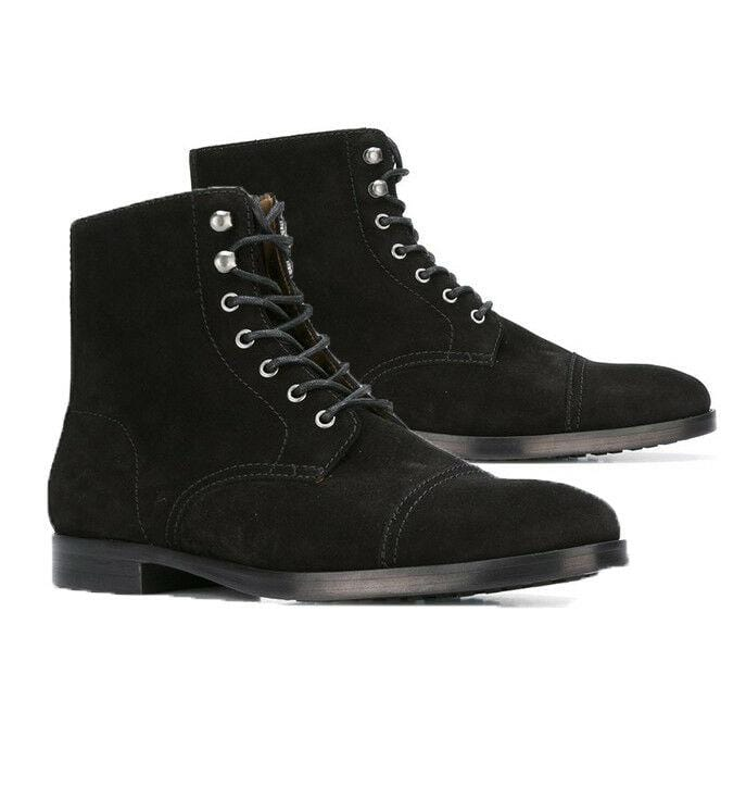 leather404 Clothing, Shoes & Accessories:Men's Shoes:Boots 8 Handcrafted Men's Fashion Black Suede Lace Up Boots, Men Cap Toe Ankle Boots