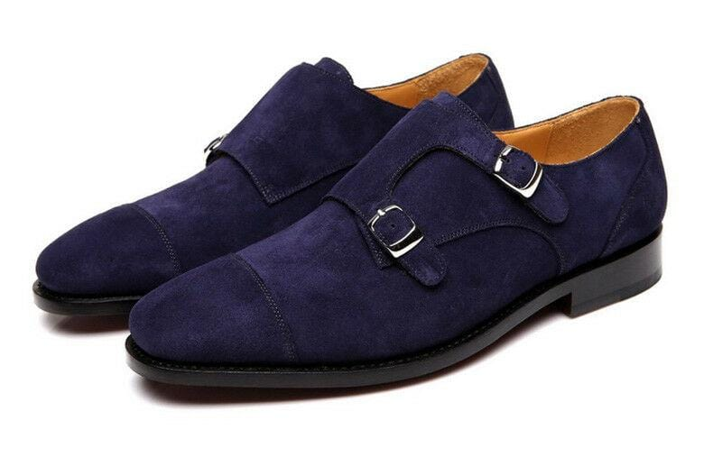 leather404 Clothing, Shoes & Accessories:Men's Shoes:Dress Shoes 8 Handmade Double Monk Suede Leather Shoes, Men's Navy Suede Shoes Dress Shoes