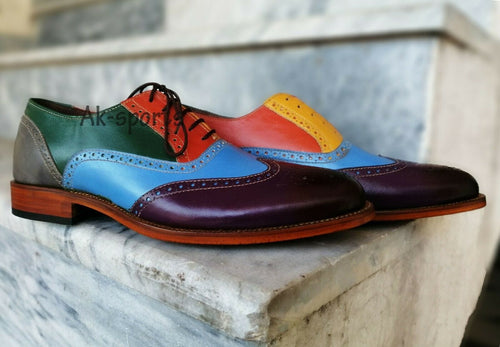 leather404 Clothing, Shoes & Accessories:Men's Shoes:Dress Shoes 8 Multi color oxford wing tip Men Dress Formal Brogues Leather Shoes