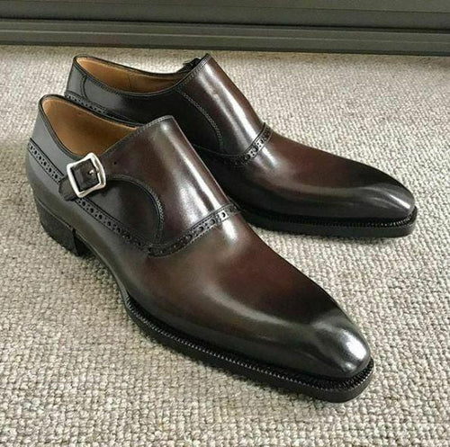 leather404 Clothing, Shoes & Accessories:Men's Shoes:Dress Shoes 8 Men's Handmade Brown Leather Fashion Shoes Monk Brogue Strap dress Formal Shoe