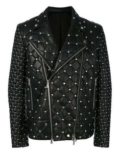 leather404 Clothing, Shoes & Accessories:Men's Clothing:Coats & Jackets S Handmade Studded Quilted Biker jacket Men, Designer Fashion Leather Jacket