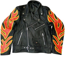 leather404 Clothing, Shoes & Accessories:Men's Clothing:Coats & Jackets Men's Motorbike Black Fire Flame Leather Jacket Movie Biker jackets