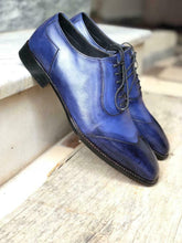 leather404 Clothing, Shoes & Accessories:Men's Shoes:Dress Shoes 8 Navy Blue Leather Shoes Men's Fashion Shoes Dress Lace up Leather Shoes