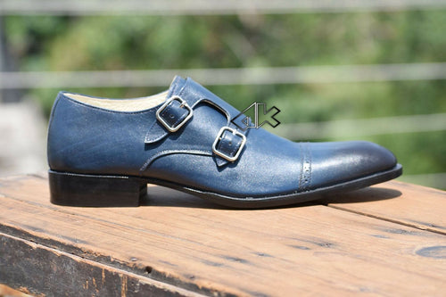 leather404 Clothing, Shoes & Accessories:Men's Shoes:Dress Shoes 8 Men's Handmade Blue Double Monk Shoes, Dress Formal Shoes Office Shoes