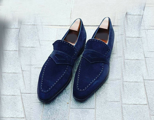 leather404 Clothing, Shoes & Accessories:Men's Shoes:Dress Shoes 8 Men's Suede Navy Moccasin Shoes, Men's Slip On slipper casual suede Dress Shoes