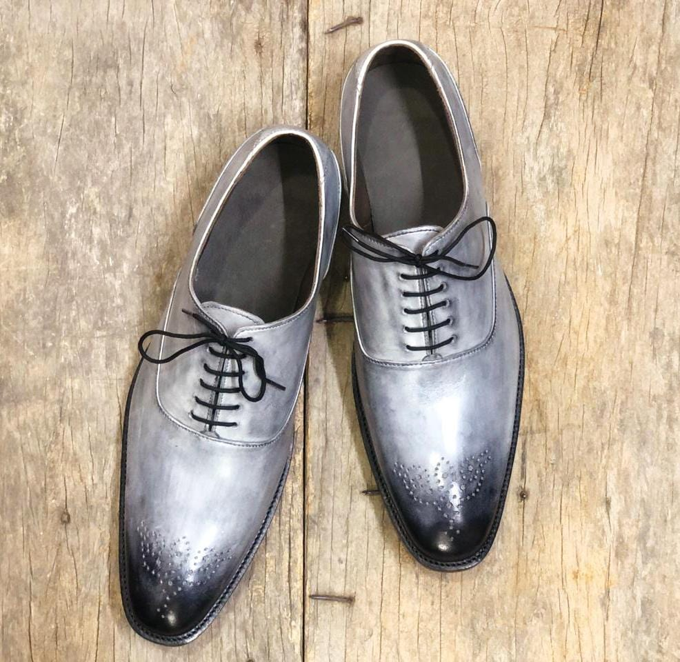 leather404 Clothing, Shoes & Accessories:Men's Shoes:Dress Shoes Gray Oxford Whole Cut Shoes Men's