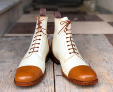 leather404 Clothing, Shoes & Accessories:Men's Shoes:Boots Ankle High Tan & White Cap Toe Leather Lace Up Men's Boot