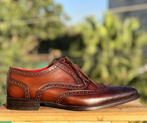 leather404 Clothing, Shoes & Accessories:Men's Shoes:Dress Shoes Handmade Wing Tip Brogue Brown Lace Up Shoes For Men's