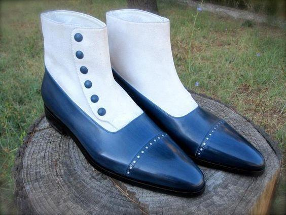 leather404 Clothing, Shoes & Accessories:Men's Shoes:Boots White Blue Button Suede Leather Cap Toe Boot