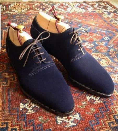 leather404 Clothing, Shoes & Accessories:Men's Shoes:Dress Shoes usa-7 Suede Lace Up Stylish Shoes, Men's Navy Blue Derby Shoes