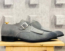 leather404 Clothing, Shoes & Accessories:Men's Shoes:Dress Shoes Handmade Gray Fringe Monk Suede Shoes For Men's