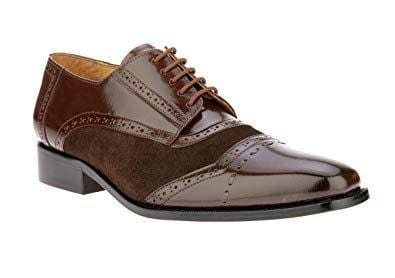 leather404 Clothing, Shoes & Accessories:Men's Shoes:Dress Shoes usa-7 Men's Leather Suede Lace Up Stylish Shoes, Brown Cap Toe Stylish Shoes