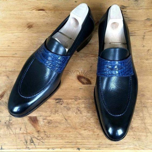leather404 Clothing, Shoes & Accessories:Men's Shoes:Dress Shoes usa-7 Men's Leather Stylish Penny Loafers Navy Blue Slip On Shoes