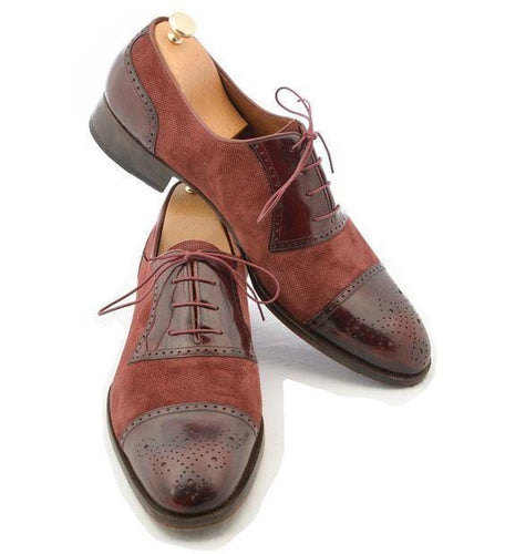 leather404 Clothing, Shoes & Accessories:Men's Shoes:Dress Shoes usa-7 Men's Leather Suede Lace Up Stylish, Brown Cap Toe Brogue Stylish Shoes