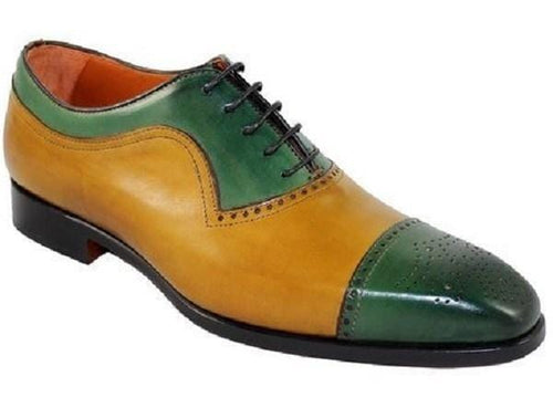 leather404 Clothing, Shoes & Accessories:Men's Shoes:Dress Shoes usa-7 Tan Green Leather Cap Toe Brogue Stylish Shoes