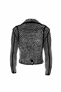 leather404 Clothing, Shoes & Accessories:women's Clothing:Coats & Jackets Woman's Full Silver Studded Rock Punk Cowhide Leather Jackets