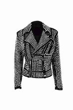 leather404 Clothing, Shoes & Accessories:women's Clothing:Coats & Jackets s Woman's Full Silver Studded Rock Punk Cowhide Leather Jackets