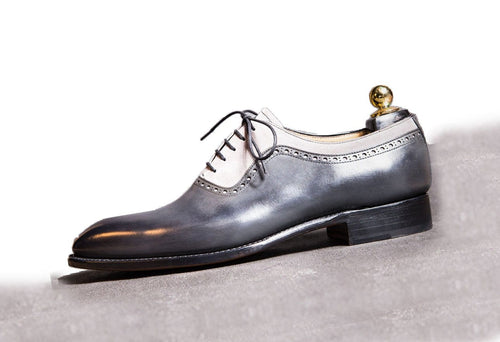 leather404 Clothing, Shoes & Accessories:Men's Shoes:Dress Shoes Men's Leather & Suede Designer Stylish Gray White Shoes
