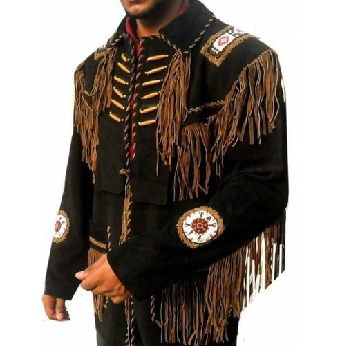 leather404 Clothing, Shoes & Accessories:Men's Clothing:Coats & Jackets Dark Brown Beads Western Cowboy Suede Leather Jacket, Fringes Cowboy Jackets