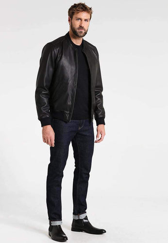 leather404 Clothing, Shoes & Accessories:Men's Clothing:Coats & Jackets Handmade Black Bomber Leather Jacket for Men Flight Jacket