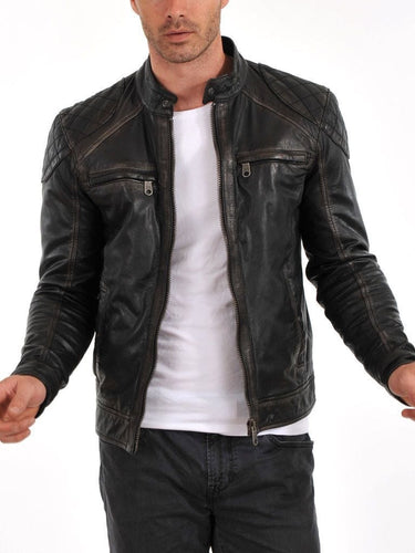 leather404 Clothing, Shoes & Accessories:Men's Clothing:Coats & Jackets Handmade Black Distressed Men's Pure Lambskin Biker Jacket