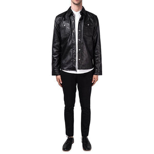 leather404 Clothing, Shoes & Accessories:Men's Clothing:Coats & Jackets Black Lambskin Leather Collared Lightweight Jacket Over Shirt