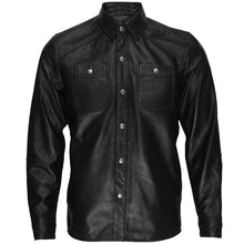 leather404 Clothing, Shoes & Accessories:Men's Clothing:Coats & Jackets s Black Lambskin Leather Collared Lightweight Jacket Over Shirt